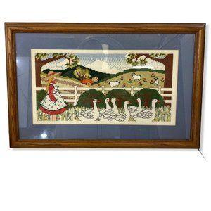 Vtg Needlepoint Cross-Stitch Farm Scene Framed Mat